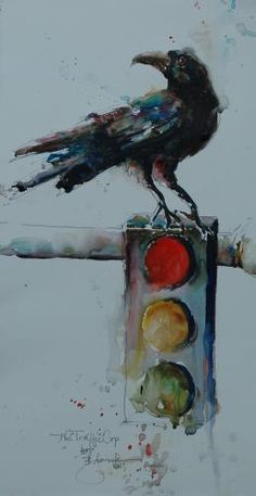 """The Traffic Cop"", watercolor, by Bev Jozwiak, an International Award winning artist from Vancouver, Washington / http://bevjozwiak.com/"