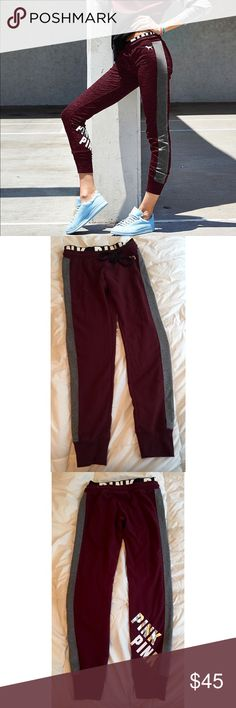 XS Maroon & Grey VS Pink Gym Pants Maroon/ ruby gym pants with heather grey stripes on the sides. No trades PINK Victoria's Secret Pants Track Pants & Joggers