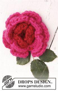 "Flor DROPS en ganchillo / crochet en ""Eskimo"". ~ DROPS Design"