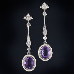 antique amethyst jewelry | Antique Amethyst Drop Earrings - 20-1-2431 - Lang Antiques