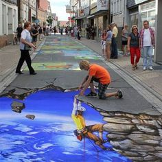 31 Street Art Pieces That Will Take You To Another Dimension - tolle Paints - Chalk Art Street Art News, Murals Street Art, 3d Street Art, Street Art Graffiti, Graffiti Artists, Amazing Street Art, Amazing Art, 3d Sidewalk Art, 3d Street Painting