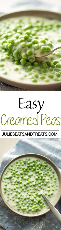 This Creamed Peas Recipe comes together quickly and so easily -- the perfect holiday side dish!