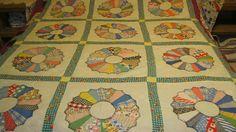 Antique Vintage Dresden Plate Quilt top=block=lots of feedsack fabrics-cotton-NR