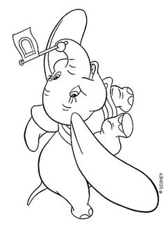 dumbo is a flying elephant who is nothing but sweet and adorable take a fly with dumbo by adding your special touch to this dumbo flying coloring page - Dumbo Elephant Coloring Pages