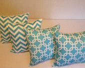 BLUE ZIG ZAG /Chain Links Pillow  covers  set (4) - 18 x 18