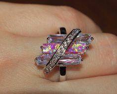 pink fire opal Topaz Cz ring Gemstone silver jewelry Sz 8 modern engagement band