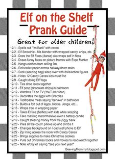 Most up-to-date Pictures Elf on the Shelf Prank Guide for all 24 Days Strategie., Most up-to-date Pictures Elf on the Shelf Prank Guide for all 24 Days Strategie. Christmas Elf, All Things Christmas, Christmas Ideas, Christmas Crafts, Christmas Decorations, Christmas Activities, Christmas Traditions, Kid Activities, Awesome Elf On The Shelf Ideas