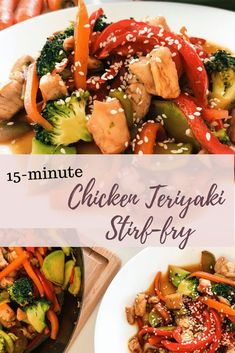 This Chicken Teriyaki Stir-fry is quick & easy to make with your own homemade teriyaki sauce included in the 15 minutes!, and so filled with beautiful crisp rainbow veggies that you dont even need to add rice if you dont feel like it. Better than take Vegetarian Recipes, Healthy Recipes, Asian Recipes, Whole30 Recipes, Quick Recipes, Fall Recipes, Yummy Recipes, Healthy Food, Healthy Eating