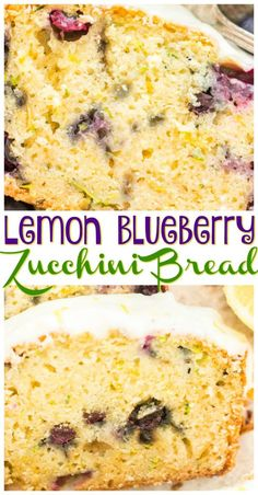 Lemon Blueberry Zucchini Bread with Lemon Glaze - The Gold Lining Girl - Lemon Blueberry Zucchini Bread recipe image thegoldlininggirl… pin 1 Best Picture For recipes fo - Köstliche Desserts, Delicious Desserts, Dessert Recipes, Yummy Food, Lemon Desserts, Plated Desserts, Lemon Zucchini Bread, Zucchini Bread Recipes, Blueberry Zucchini Bread Healthy