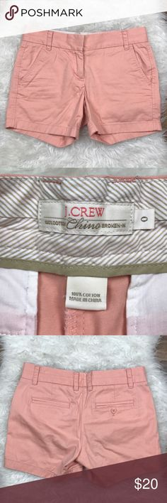 "J. Crew Broken In Chino Shorts Excellent condition J. Crew broken in chino shorts. Size 0. 100% cotton. Pretty blush color. Waistband 31"", rise 8.25"", inseam 5"". No trades, offers welcome. J. Crew Shorts"
