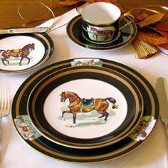 Equestrian Lovers table. Equestrian decor.