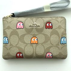 Pac Man, Coin Purse Wallet, Wristlet Wallet, Coach Wristlet, Designer Wallets, Designer Handbags, Foldover Clutch, Kids Outfits, Kids Clothing