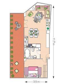 Un piso de 50 m² con planta irregular