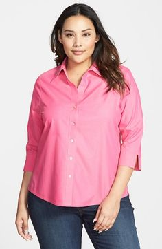 49e5486853a Foxcroft Shaped Non-Iron Cotton Shirt (Plus) available at  Nordstrom Plus  Size