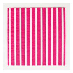 20 fuschia striped paper napkins