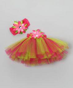 Love this Hot Pink & Lime Floral Tutu Set - Infant, Toddler & Girls by Bride and Babies on #zulily! #zulilyfinds