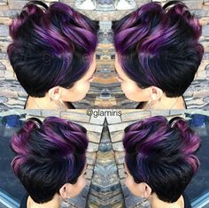 LOVE  this mix of purple used in her hair by Stockton, Ca Salon Owner & Stylist of Lux Salon,  @glamiris #purplehair #pixie #shorthair #coloredhair #haircolorideas