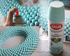This is a spray-painted gumball-covered styrofoam wreath!  How cool is that?
