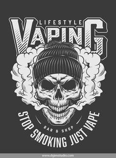 Vintage vaping print with the skull in hipster hat. Vector custom design of the skull. Created with the Skull creator. Click to the link and find a way how to create your own design of the Skull. Thousands of combinations! #skull #vectorillustration #vector#illustration #design #tshirt #apparel#appareldesign #dgimstudio #vaping #smoke #hat #hipster Skull Design, Logo Design, Custom Design, Hipster Hat, Vape Art, Vape Smoke, Badge Template, Skull Illustration, Unique Poster