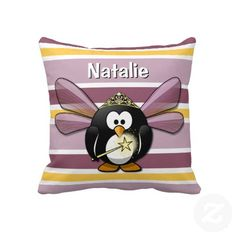 Unique, trendy and pretty customizable pillow. Customizable with name, initials, or monogram. Beautiful fairytale penguin princess, with lavender violet wings, wearing a crown, and waving a magical wand spreading fairy dust. On horizontal yellow, dark and pastel purple stripes pattern. For the animal, fantasy, and penguin lover. Cute and whimsical girly girls, baby princess, kids birthday present, or fun Christmas gift. Original, cool and whimsical pillow for the children's bedroom or…