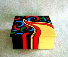 Items similar to Unique Painted Box Black Box Red Box Green Box Blue Box Keepsake Box Jewelry Box Wedding Gift Birthday Present Office Decor Home Decor on Etsy Painted Wooden Boxes, Wood Boxes, Hand Painted, Office Gifts, Office Decor, Canvas Art Projects, Green Box, Blue Box, Art Object