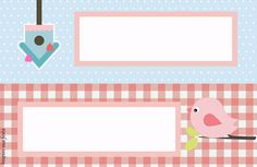 Passarinho azul e rosa – Kit festa infantil grátis para imprimir – Inspire sua Festa ®
