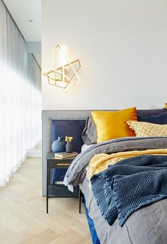 The Block 2018: In Norm and Jess's master bedroom, a vibrant colour palette of mustard and navy won the judges over.