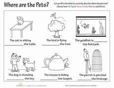 Numeracy Prepositions on Cute Left And Right Worksheets Kids Worksheet Under For Kindergarten