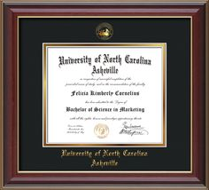 UNC Asheville U. Diploma Frame-Che Lacquer-w/UNCA Seal-Black on Gold – Professional Framing Company