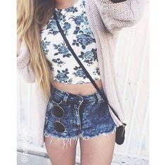 floral shirt x jean shorts