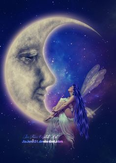 Fairy & Moon Art by JiaJenn @ deviantart Fairy Pictures, Moon Pictures, Fairy Dust, Fairy Land, Twilight Stars, Moon Fairy, Beautiful Moon, Moon Goddess, Magical Creatures