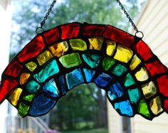 Crayon Box Rainbow in the Sky Stained Glass by DodgeGlassStudio