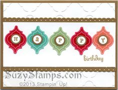 Stampin' Up! Cards - 2013-08 Mosaic Madness Stamp Camp, Modern Mosaic Embossing Folder, Mosaic Punch, Fabulous Phrases, Birthday