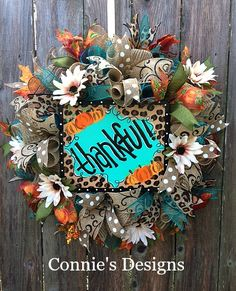 Connie's Designs Wreaths And Garlands, Deco Mesh Wreaths, Holiday Wreaths, Thanksgiving Wreaths, Thanksgiving Decorations, Diy Wreath, Wreath Ideas, Welcome Wreath, Fall Crafts