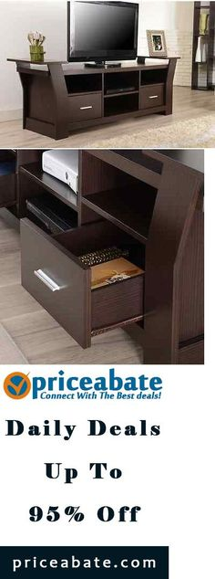 #priceabatedeals Contemporary TV Stand Entertainment Center Cabinet Media Storage Drawer Console - Buy This Item Now For Only: $269.9