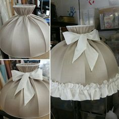 Paralume artigianale made in Italy con stoffa cucita liscia con fiocco e gala