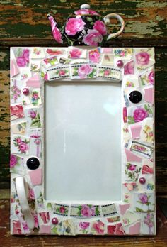 Mosaic Teapot Picture Frame . The flower pattern is one my mom had
