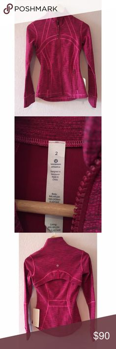 {Lululemon} Define Jacket NWT NWT! Cottony-softy Luon fabric with four-way stretch! Thumbholes and fold over cuffins to keep fingers warm. Size 2 but could probably fit a 4 as well! Very stretchy!!! Gorgeous berry magenta color! lululemon athletica Jackets & Coats