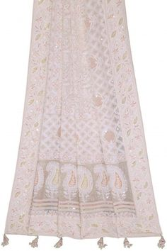 Ada Hand Embroidered White #PureGeorgette Lucknowi #Chikankari #Dupatta With #Pearl & #Sequinned Work showcases the elegance and charm of the Chikankari, pair it with any kurti and carry your own style; you end up looking quite classy as you want to be. Kindly connect us on WhatsApp +91-8795160153 #Adachikan #Ada #lucknowi #dupatta #handcrafted #handembroidery #handembroidered #embellishment #ornamentation #lakhnavi #shoponline #chikankariembroidery #puregeorgette #lucknowichikankari