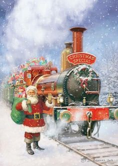 Santa and the Christmas Special Christmas Train, Christmas Scenes, Christmas Past, Christmas Pictures, Christmas Crafts, Christmas Costumes, Father Christmas, Illustration Noel, Christmas Illustration