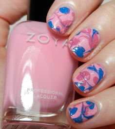 Zoya Tickled DIY Marbled Decal Nail Art feauring Zoya Kitridge, Rooney and Ling
