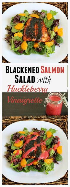 Blackened Salmon Salad with Huckleberry Vinaigrette - Easy, gluten-free dinner that the whole family loved. 45 minutes from start to finish! #WildAlaskaSeafood