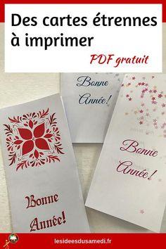 Comment offrir des étrennes en cadeau du nouvel an? Carte à imprimer #printable #pdfgratuit #nouvelan Nouvel An, Cover, Pretty Cards, Greeting Cards, Happy New Year