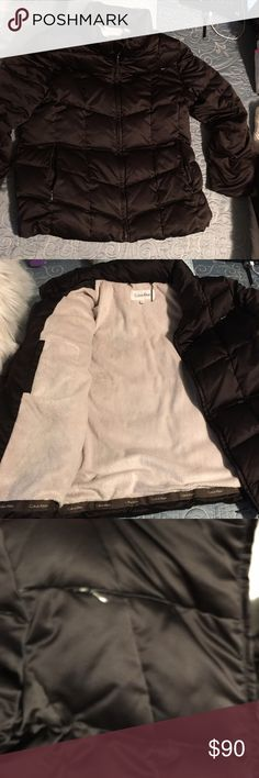 Calvin Klein puffer jacket Beautiful black Sateen Calvin Klein puffer jacket size extra-large but definitely will fit medium -large The jacket was only worn one time so it is a new condition it is Goosedown puffer jacket very warm and very silky feeling to the touch Great for the winter time❄️☃️ Calvin Klein Jackets & Coats Puffers