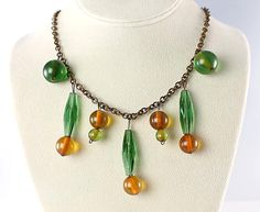 Art Deco Bakelite Glass Necklace drop dangle Bib antique jewelry