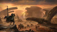 Exoplanet First Contact: Nomads, Albert Urmanov on ArtStation at https://www.artstation.com/artwork/exoplanet-first-contact-nomads
