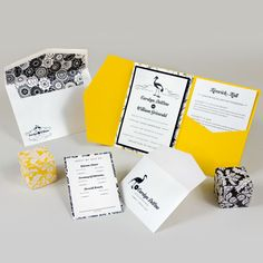 Black and Yellow Wedding Invitations Yellow Wedding Invitations, Wedding Invitation Suite, Wedding Stationery, Birthday Invitations, Invites, 5x7 Envelopes, Yellow Theme, Pocket Cards, Stationery Design