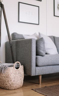 Gray Sofa Tufted On Back Solid Wood Legs Article Anton Modern Furniture