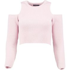 Boohoo Lily Cold Shoulder Rib Knit Crop Jumper   Boohoo (830 DOP) ❤ liked on Polyvore featuring tops, sweaters, pink crop top, cropped sweater, cold shoulder sweater, pink jumper and pink cropped sweater