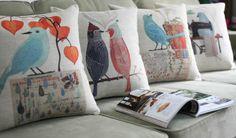 Aliexpress.com: Comprar Frete grátis 18in * 18in americanos vila flores e pássaros travesseiros decoração 4PCS almofada do sofá tampa por atacado!  Almofadas de fornecedores confiáveis sobre a loja de lian canção $49,96